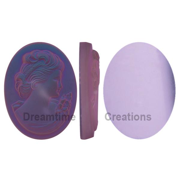 German Cameo Oval Flat Back 40x30mm Crystal Matte Purple Haze