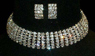 6 Row Adjustable Rhinestone Choker