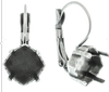 10mm Mystic Square for 4460 Stones, Rhombus Shaped Setting Leverback Earring Bases in Shiny Silver