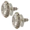 11mm Empty Rondelle with Rivoli Button Earrings