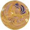 German Round Glass Cabochon Swirl 18mm Crystal Bright/Brandy