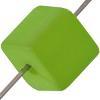 German Bon Bon Bead 8mm Square Lime Matte