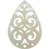 Pearshape Lacy Lucite Laser Cut 40 x 28 mm Cream