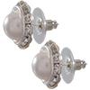 Rondelle Button Earrings 11MM Pearl/Silver
