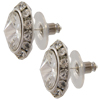 11mm Rondelle with Crystal Rivoli Button Earrings