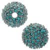 Beadelle® Pave Crystal Bead Blue Zircon/Gunmetal 14mm