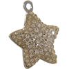 Swarovski Pave Star Charms 14mm Light Peach with Silk on Silver Star