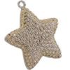 Swarovski Pave Star Charms 20mm Light Peach with Silk on Silver Star