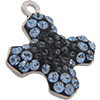 Swarovski Pave Cross Charms 14mm Light Sapphire with Crystal Silver Night