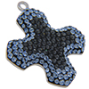 Swarovski Pave Cross Charms 20mm Light Sapphire with Crystal Silver Night
