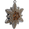 Swarovski Pave Edelweiss Charm or Pendant 14 mm Lt Smoked Topaz with Golden Shadow on Silver Edelweiss Flower