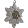 Swarovski Pave Edelweiss Charm or Pendant 14 mm Light Grey Opal with Moonlight on Silver Edelweiss Flower