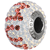 """Swarovski 184702 BeCharmed Pave Mother's Day Beads 14mm White Opal with Padparadscha """"MUM"""""""