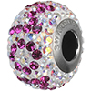 Swarovski 184802 BeCharmed Pave Mom Bead 14mm with Crystal AB and Fuchsia