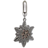 Swarovski Pave Edelweiss BeCharmed Charm 14 mm Vintage Rose with Silver Shade on Silver Edelweiss Flower