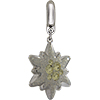 Swarovski Pave Edelweiss BeCharmed Charm 14 mm Jonquil with White Opal on Silver Edelweiss Flower