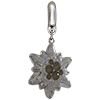 Swarovski Pave Edelweiss BeCharmed Charm 14 mm Light Grey Opal with Moonlight on Silver Edelweiss Flower