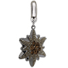 Swarovski Pave Edelweiss BeCharmed Charm 14 mm Light Smoked Topaz with Golden Shadow on Silver Edelweiss Flower