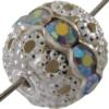 1 Row Rhinestone Ball, 12mm Crystal AB/Silver