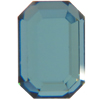 Swarovski 2610 Emerald Cut Octagon Flat Back Indicolite Chrome 6x4mm