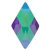 Swarovski 2709 Rhombus Hotfix Crystal Paradise Shine 10x6mm