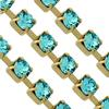 Swarovski 27104 Rhinestone Chain pp24 Light Turquoise/Gold
