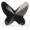 Swarovski 2854 Butterfly Flat Back Jet 12mm