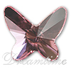Swarovski 2854 Butterfly Flat Back Light Rose 12mm