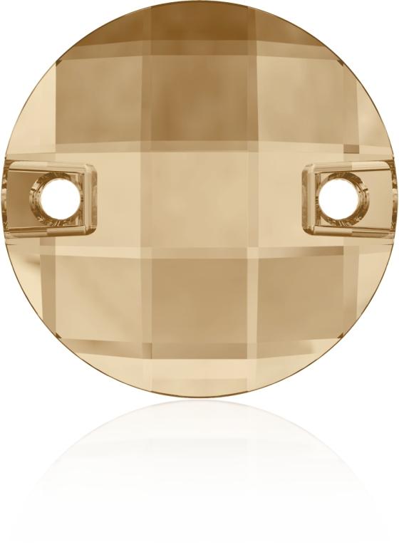 Swarovski 3220 Round Chessboard Sew-on Crystal Golden Shadow 10mm
