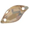 Swarovski 3254 Diamond Leaf Sew-on Crystal Golden Shadow 30x14mm