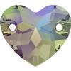 Swarovski 3259 Heart Sew-on Crystal Paradise Shine 12mm