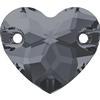 Swarovski 3259 Heart Sew-on Crystal Silver Night 12mm