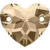 Swarovski 3259 Heart Sew-on Light Silk 16mm