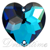 Swarovski 3285 Heart Shaped Sew-on Crystal Bermuda Blue 24mm