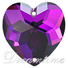 Swarovski 3285 Heart Shaped Sew-on Crystal Heliotrope 24mm