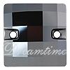 Swarovski 3293 Chessboard Sew-on Jet Hematite 12mm