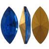 Swarovski 4200 Navette Rhinestones Sapphire (Gold Foiled) 12x6mm