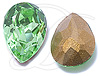 Swarovski 4320 Pear Shaped Fancy Stone Peridot (Gold Foil) 18x13mm