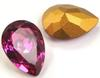 Swarovski Vintage 4320 Pear Shaped Fancy Stone Fuchsia (Gold Foiled) 8x6mm