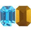 Swarovski 4600 Rectangle Octagon Fancy Stone Aquamarine (Gold Foil) 12x6mm