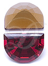 Swarovski 4728 Vintage Moon Shape Fancy Stone Ruby 16x12mm