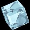 Swarovski 4841 Cut Corner Cube Fancy Stone Aquamarine Comet Argent Light (CAL V Z) 6mm