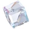Swarovski 4841 Cut Corner Cube Fancy Stone Crystal AB Comet Argent Light V 8mm