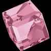 Swarovski 4841 Cut Corner Cube Fancy Stone Light Rose Comet Argent Light (CAL VZ) 4mm