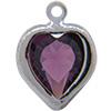 Swarovski 52200 Heart Channel Link Charm in Amethyst/Rhodium