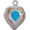 Swarovski 52200 Heart Channel Link Charm in Crystal AB/Rhodium