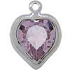 Swarovski 52200 Heart Channel Link Charm in Light Amethyst/Rhodium