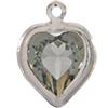 Swarovski 52200 Heart Channel Link Charm in Black Diamond/Rhodium