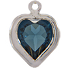 Swarovski 52200 Heart Channel Link Charm in Montana/Rhodium
