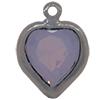 Swarovski 52200 Heart Channel Link Charm in Rose Water Opal/Rhodium